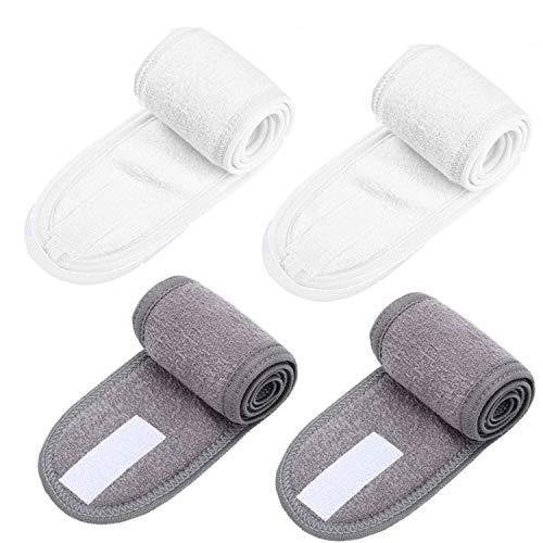 4X Fascia per Capelli per Trucco Fascia per Capelli Sintetica Fascia per Capelli Regolabile con Velcro, Bianco grigio
