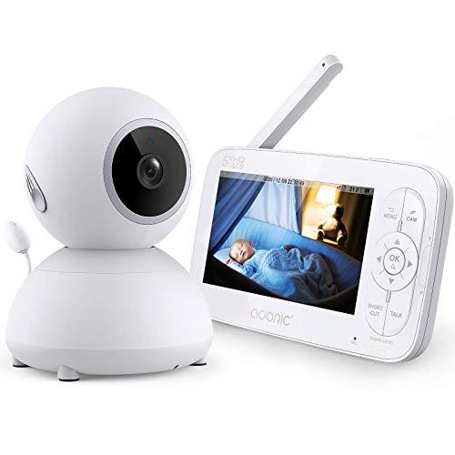Babyphone mit Kamera,Adoric Baby Monitor 5 Zoll 720P IPS HD Bildschirm,Nachtsicht,Zwei Wege Audio, Temperatur- und akustischer Alarm,Wiegenlied, 355 ° Weitwinkel, 2.4 GHz bis zu 300 m Reichweite