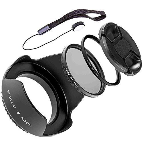 LUMOS Zubehör Set 67mm | Gegenlichtblende UV Schutz-Filter Polfilter Objektivdeckel & Halter | Passt zu Ihrem Nikon Kamera Objektiv mit 67 mm Filtergewinde