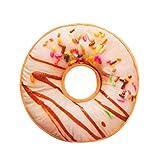 ZYUEER Doux en Peluche Oreiller en Peluche Galette de Chaise Sweet Donut Foods Housse de Coussin Coque Jouets, H, 40cm x...