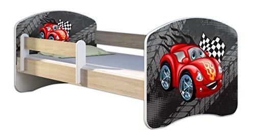 Kinderbett Jugendbett mit einer Schublade und Matratze Sonoma mit Rausfallschutz Lattenrost ACMA II 140x70 160x80 180x80 (05 Rote Auto, 140x70)