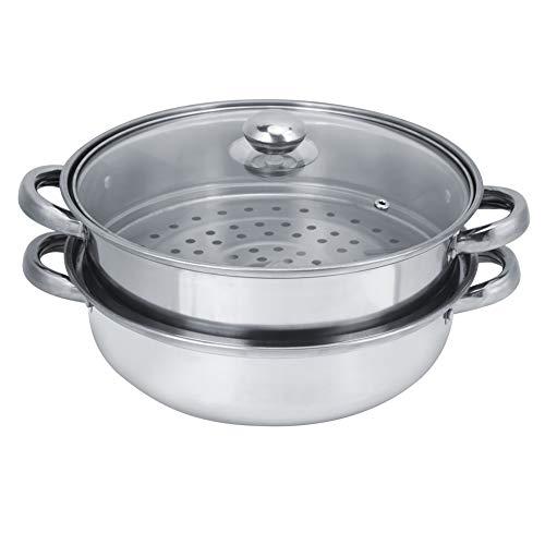 Conjunto de olla de vapor y pila de acero inoxidable para el hogar Olla de sopa de olla de cuatro orejas de doble capa para cocinar al vapor