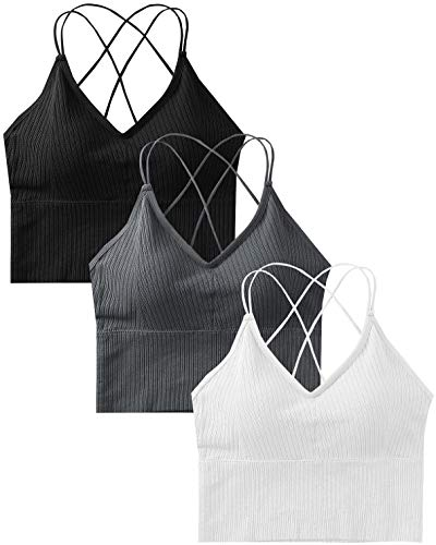 Sport BH Damen Bustier BH Ohne Bügel Sport Bra Top Spaghettiträger Cross Back Design Push up BH für Yoga Fitness, 3er Pack-Schwarz+grau+weiß-Einheitsgröße