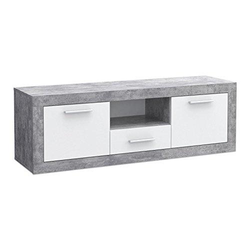 Unbekannt Lowboard BACCIO - Beton-Optik-Weiß - 148x50 cm