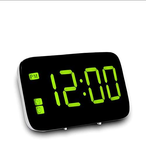 Mubgo wandklokken groene LED wekker digitaal LED-display stembediening elektrische snooze nacht achtergrondverlichting bureauklok klok USB-oplaadkabel
