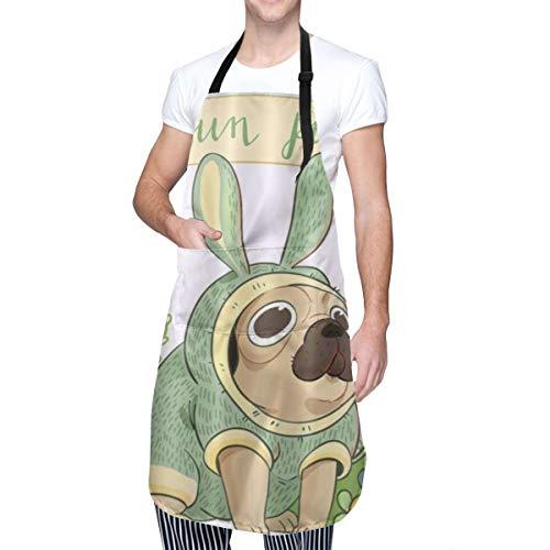 COFEIYISI Delantal de Cocina Pug divertido de dibujos animados disfrazado de zanahoria conejo Delantal Chefs Cocina para Cocinar/Hornear