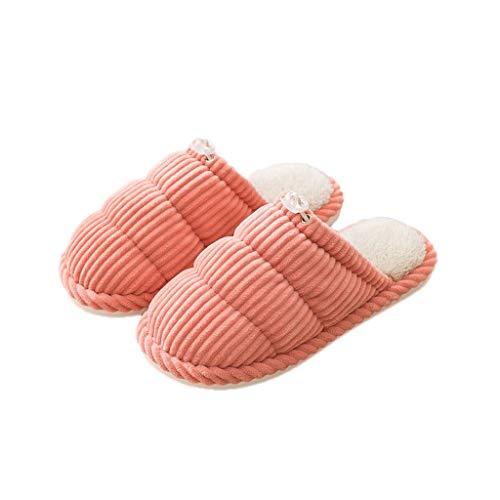 KHUY Zapatillas mullidas para mujer con espuma viscoelástica para hombre y interior y exterior, de algodón antideslizante para el hogar para niñas (color: naranja, tamaño: 39 – 40 euros)