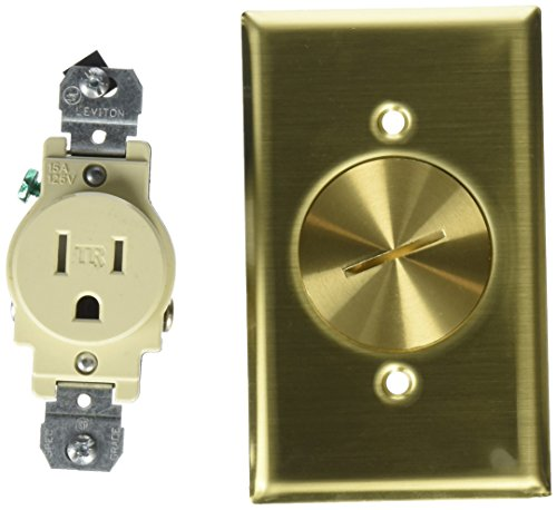 Leviton 5249-TFB 1-Gang Single Receptacle Floor Box Assembly, Tamper-Resistant, Brass Finish, 15-Amp, 125-Volt