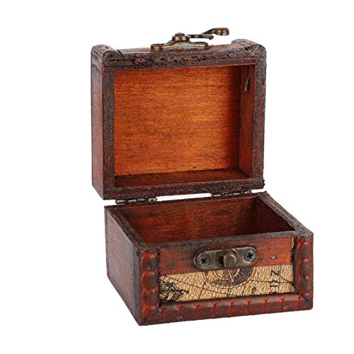 Jopwkuin Vintage Handcraft Wooden High Material Strength Mini Storage Box,Great for Home or Outdoor Travel,a Beautiful Ornament Decoration for Home(map)