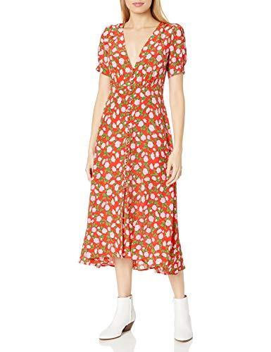 The Kooples Women's Women's Maxi Silk Dress in a Flower Print, red, 3