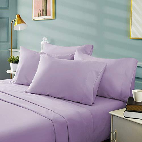 4 Piece Premium Bed Sheet Set 100% Pure Cotton 600 Thread Counts Extra Soft Cooling Comfortable Bedding Set All Around Elastic Fit Mattress 16' Deep Pocket Lavender | Twin XL 4 PCS Sheet Set