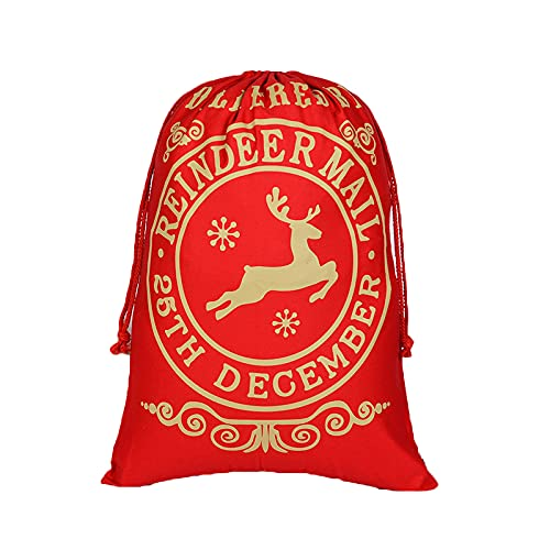 Wilany Navidad Lienzo Bolsa de cordón Bolsa de almacenamiento Bolsa de puerto de haz Bolsas de viaje Bolsas de dulces Bolsas de joyería Sacchetto regalo riutilizzabile Natale Goodie Bags