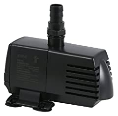 """396 Gallons per hour; 36 watt motor Included fittings: three-.75"""" Barbed x .75"""" Threaded, two-.5"""" Barbed x .75"""" Threaded and Nozzle x .75"""" Threaded Suitable for installation on dry land for in-line use or submersibly into the water Pre-wired 69 inch ..."""