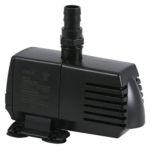 EcoPlus Eco 396 Water Pump Fixed Flow Submersible Or Inline For Aquariums, Ponds, Fountains & Hydroponics - UL Listed, 396 GPH, Black