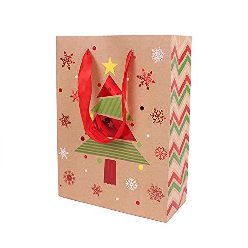 Bolsitas Para Regalos 12 Unids Kraft Papel Embalaje Regalo Regalo Partido Candy Dragee Pastel Galletas Bolsa Bolsa De Nieve Copo De Santa Bolsas-17X23X8Cm_H