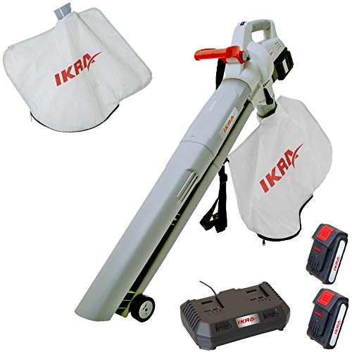 IKRA 3in1 aspiratore soffiatore a batteria ICBV 2 20, incl. 2 batterie, doppio dispositivo di carica rapida e 2 sacchi raccoglitori