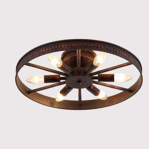 Lámpara de techo retro vintage Anillo de araña industrial 6 llamas óxido Candelabro redonda industria lámpara decorativa casa de campo hierro - 6 x E14 max40W para dormitorio bar cafetería Ø 46cm