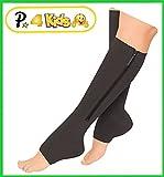 Presadee Kid's Edition Easy Zipper Compression Socks Knee Length Energize Leg Circulation Performance Fatigue Support (S/M, Black)