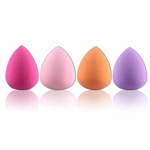 Lubier Maquillage Puffs Maquillage humide et sec femme éponge bouffante disponible (4pcs, forme de goutte,Couleurs aléatoires)