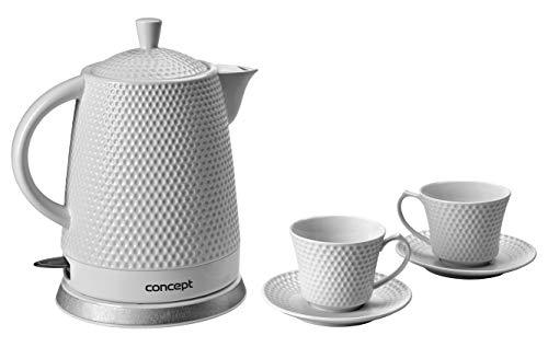 CONCEPT électroménager RK0020 Bouilloire en céramique, 1,5 litre, blanche avec imprimés, design original, lot incluant deux tasses et sous-tasses assorties a la bouilloire, 1500 W