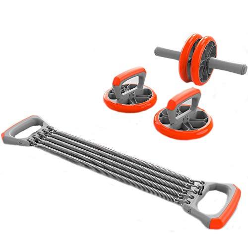 NIANZAI LUHUAPING Fitnessgeräte 3-in-1-Muskel-Trainer-Rad-Roller Kit AB Rad-Abdominal-Rolle mit Push-up-Bar Knieschoner Gym Homad Gym Heimfitnessgeräten Training (Color : Orange)