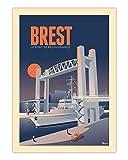 AZSTEEL Poster Brest Le Pont De   Poster No Frame Board for