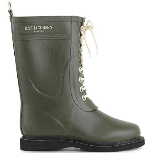Ilse Jacobsen Rubberen laarzen voor dames, 100% natuur, bio-rubber, gegarandeerd PVC-vrij, 3/4 lange laarzen met veters van 100% katoen