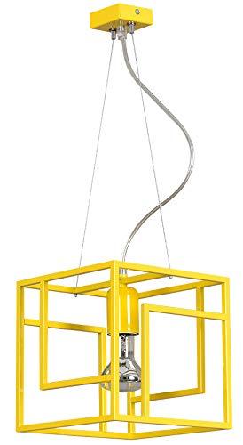 Gelbe Pendelleuchte quadratisch Würfel Modern Design Metall stylisch SUSIE Wohnzimmer Lampe Esstisch