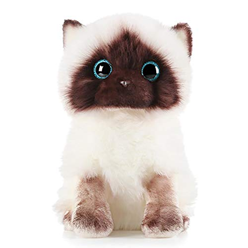 LISS 2021 Plush Siamese Cat Dolls Stuffed Animals Toys Simulation Siamese Cat Cute Sequins,A Beautiful Gift for The Children (7.87IN)