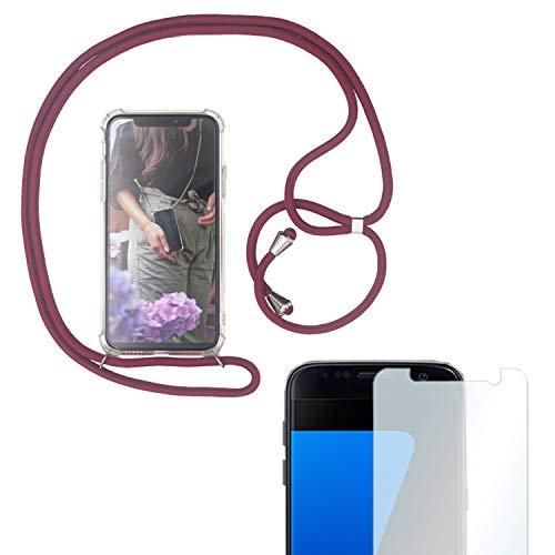 Eximmobile Handykette + Folie Schutzhülle kompatibel mit Samsung Galaxy A8 2018 Handyhülle mit Band Seil Bordeaux-Rot Schnur Hülle Umhängen Handytasche Umhängehülle Kette Kordel Silikoncase Tragen