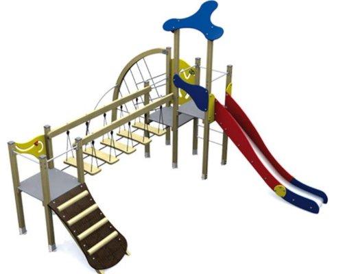 Loggyland Spielturm KLASSIK IV mit Brücke, Rutsche, Rampe und Kletterwand - für öffentliche Spielplätze & Einrichtungen