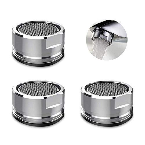 JUNMAO 3 PCS Faucet Aerator Parts Bathroom Sink Faucet Aerator,Kitchen Faucet Aerator Faucet Filter Faucet with Gasket For Kitchen, Bathroom - Silver (Outside Diameter 24MM)