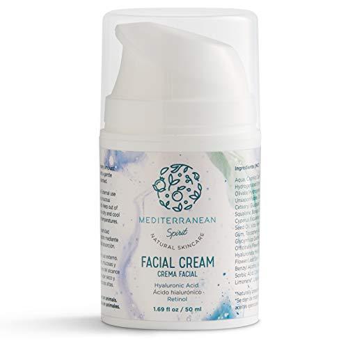 Crema Facial Antiarrugas Ácido Hialurónico y Retinol - Hidratante - Ingredientes Naturales y Ecológicos - Mujer y Hombre por Mediterranean Spirit