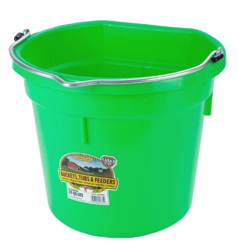 Miller Manufacturing P20FBLIMEGREEN Plastic Flat Back Bucket for Horses, 20-Quart