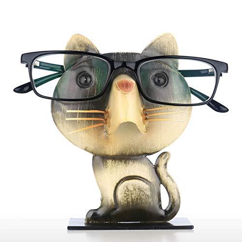 Tooarts Brillengestell in Katzenform | Brillenhalter in Tierform | Metall Brillenständer | Tier Brillenablage | Schwarz und Gelb Eisen