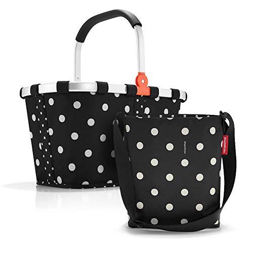 Set aus reisenthel Carrybag BK und reisenthel Shoulderbag HY, Einkaufskorb mit Kleiner Umhängetasche, Mixed dots