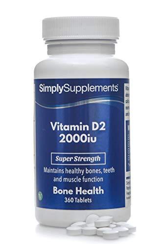 Vitamina D2 2000iu - ¡Bote para 1 año! - Apto para veganos - 360 Comprimidos - SimplySupplements