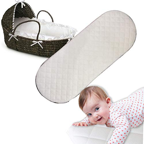 Moses Basket Mattress Oval Shaped Hypoallergenic Bassinet Baskets Baby Foam Mattress Fits Mamas and Papas Mothercare Crib Cot Bed Pram Mattresses Quilted Washable Mattress Cover (67 x 30 x 4)