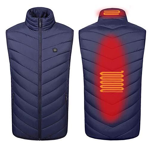 L-SLWI Riscaldata Vest Uomo Donna Leggero Riscaldamento Coat Elettrico Riscaldato Giacche, Ricarica USB Riscaldata Panno Gilet, da 35 ℃ A 55 ℃, Blu,2 Heating Zones,XXL