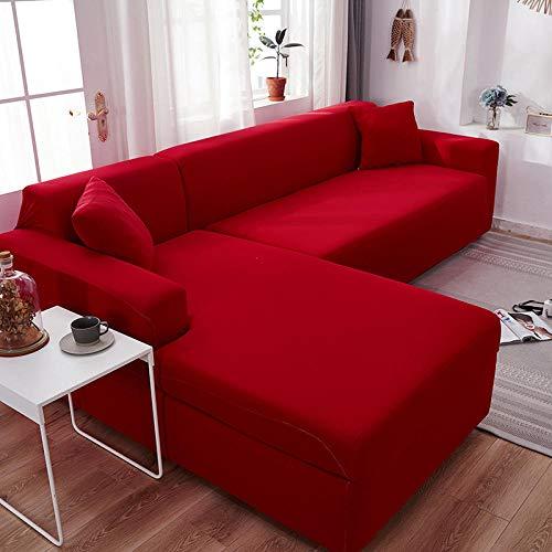 Fsogasilttlv Protector para Mascotas 4 plazas, Fundas elásticas de Licra, Funda de sofá, Toalla elástica para sofá, Fundas de Esquina para sofá para Sala de Estar, Rojo