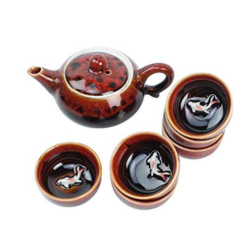 Red Traditional Porcelain Loose Leaf Chinese Teapot 6oz Set With 6 Unquie Small Tea Cup 16oz Fancy Raised Kio Fish Antique Vintage Great For Brewing Oolong Jasmine Chai English Breakfast Chammomile G