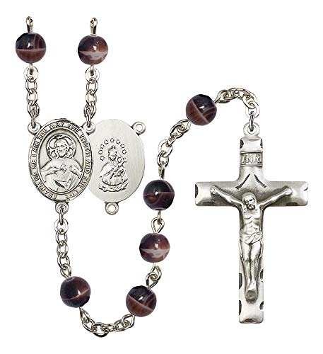 Silver Plate Rosary Features 7mm Brown Beads. The Crucifix Measures 1 3/4 x 1. The Centerpiece Features a Scapular Medal. Patron Saint