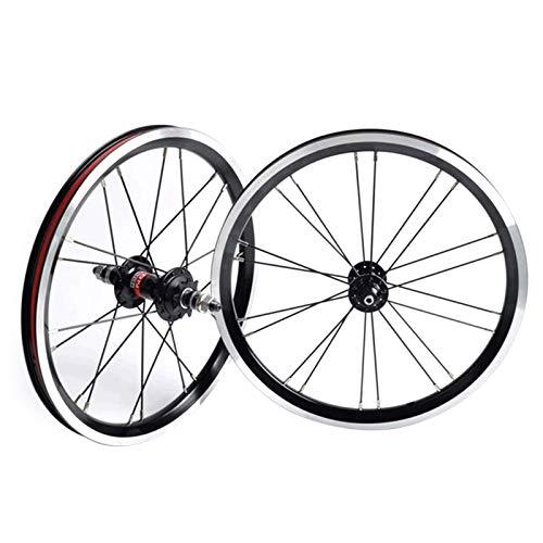 TYXTYX Juego de Ruedas de Bicicleta BMX 406 de 20 Pulgadas, Freno de llanta, Rueda Delantera y Trasera de Bicicleta Plegable con piñón de 9T, buje de cojinete Sellado 1210g