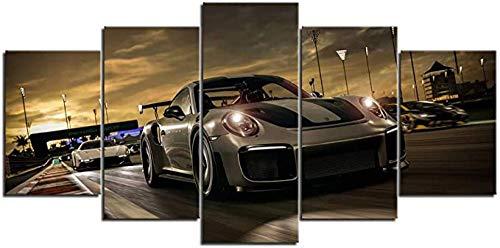 HUA JIE Lienzo Forza Motorsport Sports Car Canvas Wall Art Pictures 5 Piezas Festive Mood