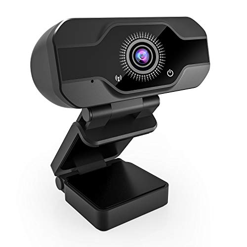 Webcam,USB Webcam,PC Webcam Full HD con Microfono Stereo elecamera PC Microfoni Audio Stereo ridurre Il Rumore per Video Chat e Registrazione(Nero 1)