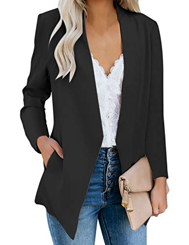Solid Casual Draped Open Front 3/4 Sleeve Outerwear Blazer Jacket/Made in USA Black XL