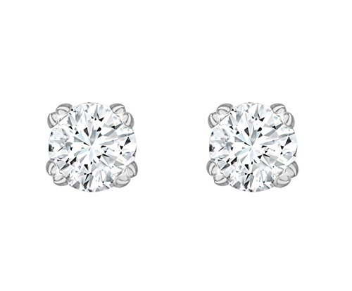 Carissima Gold 9 ct White Gold 0.50 ct Solitaire Diamond Stud Earrings