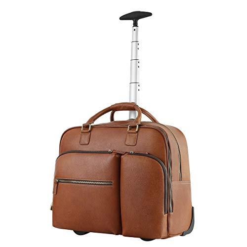 Leathario Trolley Pelle Tote da Viaggio Bagaglio a Mano Rolling Borsone a Ruote Valigia Portatile Multifunzione per Lavoro Viaggio