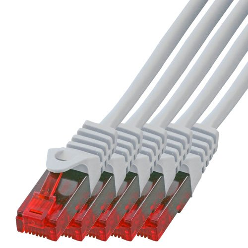BIGtec - 5 Stück - 15m Gigabit Netzwerkkabel Patchkabel Ethernet LAN DSL Patch Kabel weiß (2X RJ-45 Anschluß, CAT.5e, kompatibel zu CAT.6 CAT.6a CAT.7) 15 Meter