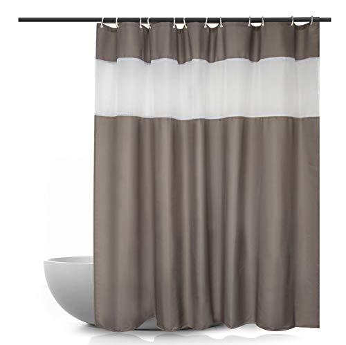 Ebecede Duschvorhang, für Badezimmer, mit weißen Streifen, 90 g/m² Antik 72Wx84L hellbraun